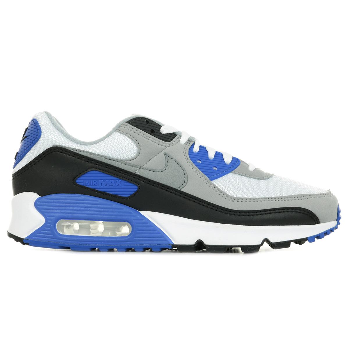 Détails sur Chaussures Baskets Nike homme Air Max 90 taille Blanc Blanche Textile Lacets