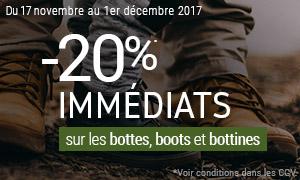 Offre spéciale -20% sur les bottes, boots et bottines*