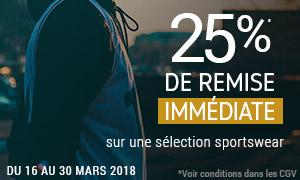 Offre spéciale -25% immédiats sur une sélection sportswear