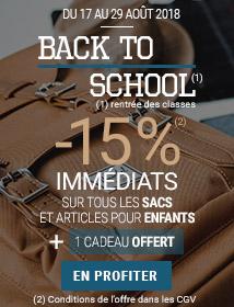 Offre de la rentrée -15% sur les sacs et articles enfant